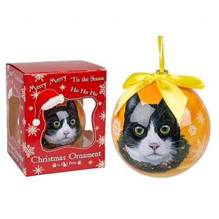 Christmas Bauble, Black and White Cat